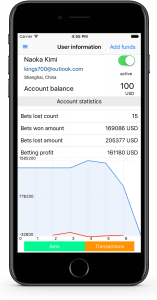 Mobile control panel for sportsbook - manage user account